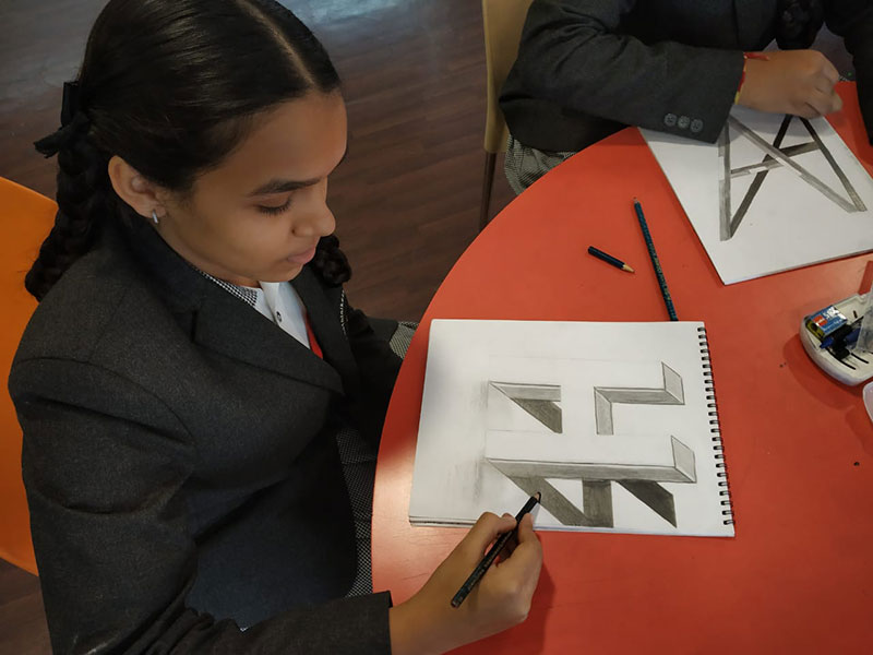 3D drawings of Alphabets - Shanthinikethana School